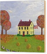 Stone House In Autumn Wood Print