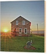 Stone House Sunrise Wood Print