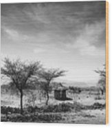 Stone Hut Set In Grassland Plains Wood Print by David DuChemin