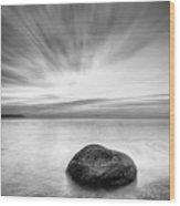 Stone In The Sea Wood Print