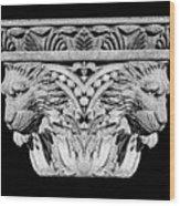 Stone Lion Column Detail Wood Print