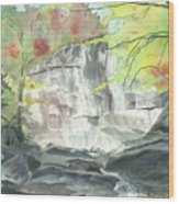 Stone Mountain Falls - The Upper Cascade - IIi - Autumn Wood Print