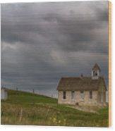 Stone Schoolhouse Wood Print