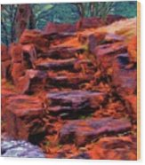 Stone Steps In Autumn Wood Print