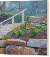 Stone Wall And Stairs Wood Print