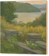 Stone Wall On The Hudson Wood Print