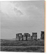 Stonehenge - B/w 1 Wood Print