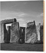 Stonehenge No 1 Bw Wood Print