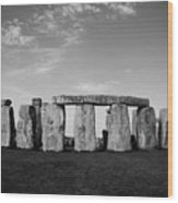Stonehenge On A Clear Blue Day Bw Wood Print