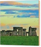 Stonehenge Sunset In Spring Wood Print