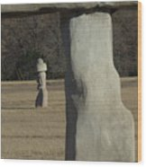 Stonehenge Two Meets Easter Island Wood Print