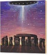 Stonehenge Ufo Wood Print
