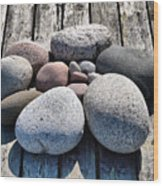 Stones And Old Wood 3  Wood Print