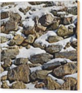 Stones And Snow Wood Print