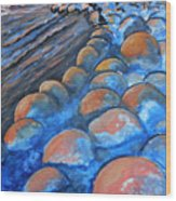 Stones By The Sea Wood Print