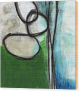 Stones- Green And Blue Abstract Wood Print