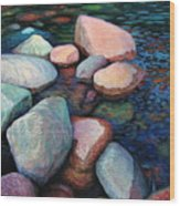 Stones Of The Lake Wood Print
