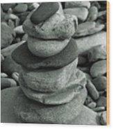 Stones Still Life Monochrome Wood Print