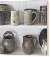 Stoneware Cups Wood Print