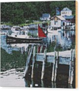 Stonington Harbor With Pier Maine Coast Wood Print
