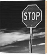 Stop Wood Print by James Bull
