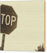 Stop Shooting Stop Signs Wood Print