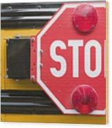 Stop Sign On School Bus Wood Print