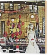 Store Front Wedding Wood Print