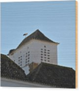 Stork And Nest On Roof In Faro. Portugal Wood Print