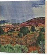 Storm Approaching The Ridge Wood Print
