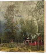 Storm Approaching White Birch Cottage Wood Print