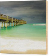 Storm Arrives At The Pier Wood Print