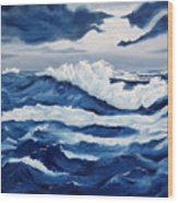 Storm At Sea Wood Print by Lorraine Foster