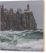 Storm At Split Rock Lighthouse Wood Print