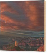 Storm At Sunrise Point Imperial Grand Canyon National Park Arizona Wood Print