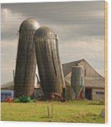 Storm At The Farm Wood Print