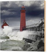 Storm At The Grand Haven Lighthouse Wood Print