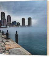 Storm Clouds And Fog Approaching Downtown Boston Massachusetts.  Wood Print