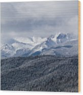 Storm Clouds Receding And Fresh Snow On Pikes Peak Wood Print