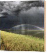 Storm Clouds And Rainbow Over Chaplin Lake Marshes Wood Print