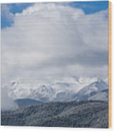 Storm Clouds And Snow On Pikes Peak Wood Print