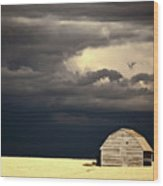 Storm Clouds Behind Abandoned Saskatchewan Barn Wood Print