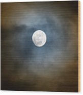 Storm Clouds Breaking For The Full Moon Wood Print