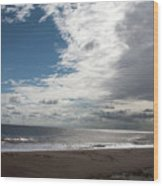 Storm Clouds Clearing The Beach With Wind Farm In The Background Skegness Lincolnshire England Wood Print