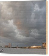 Storm Clouds On The Beach Wood Print