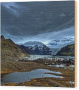 Storm Clouds Over A Glacier - Iceland Wood Print
