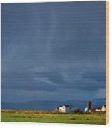 Storm Clouds Over Farmland - Iceland Wood Print