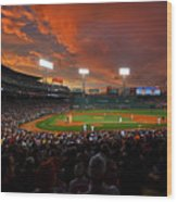 Storm Clouds Over Fenway Park Wood Print
