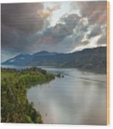 Storm Clouds Over Hood River Wood Print