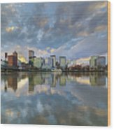 Storm Clouds Over Portland Skyline During Sunset Wood Print